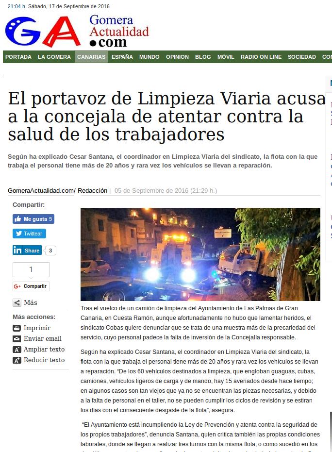 Publicado en el periodico La Provincia. 5 Septiembre de 2016