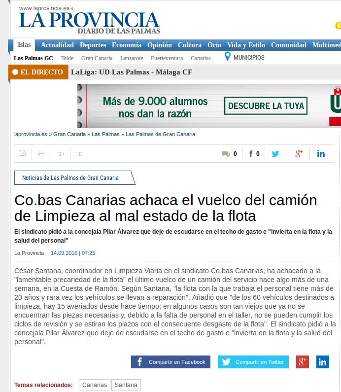 Publicado en el periodico La Provincia. 14 septiembre 2016